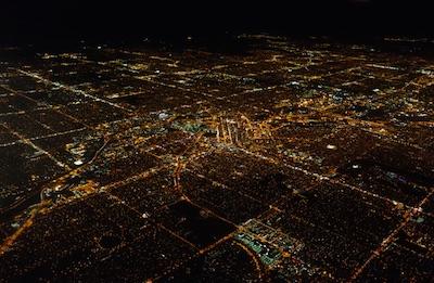 デンバーの夜景 ユナイテッド航空